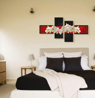 картина бели орхидеи червен черен фон