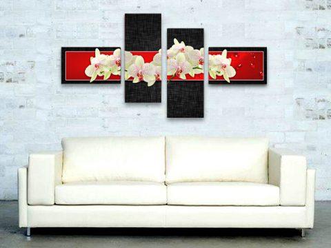 картина бели орхидеи червено черно