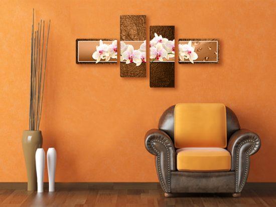 картина пано бели орхидеи кафяво