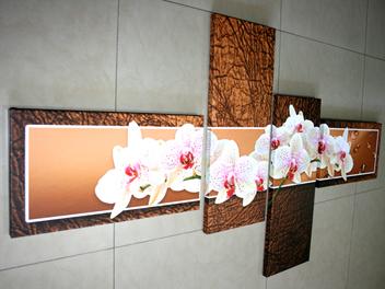 бели орхидеи кафяв фон
