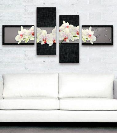 пано бели орхидеи черен фон