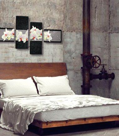 картина бели орхидеи сиво