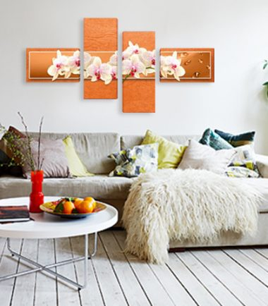 картина бели орхидеи оранжев фон