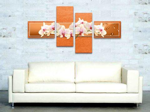 пано бели орхидеи оранжев фон