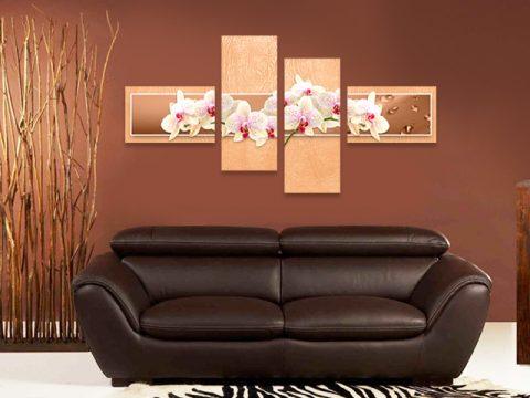 картина пано бели орхидеи праскова