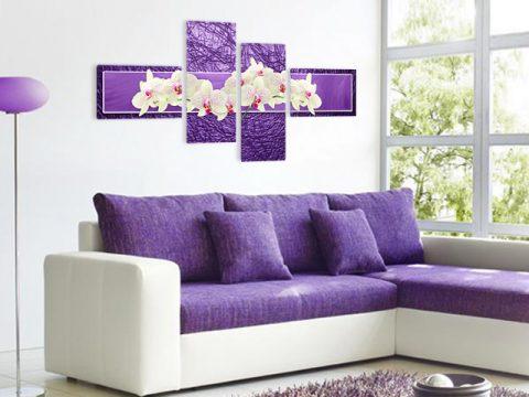 картина пано бели орхидеи лилав фон