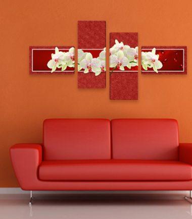 картина пано бели орхидеи червен фон