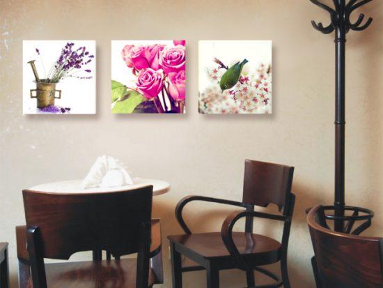 картина винтидж рози птица лавандула