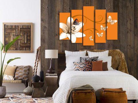 картина пеперуди и цветя оранжево