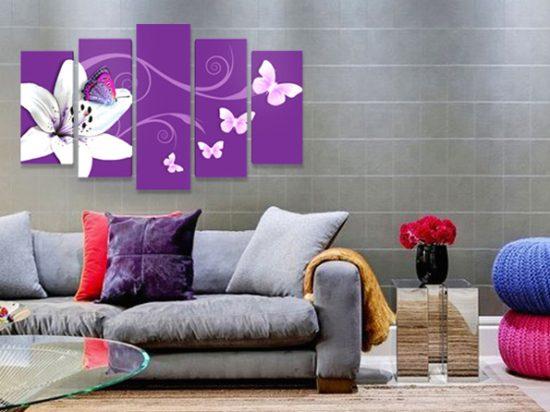 абстракт цвете пеперуди лилаво