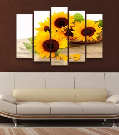 картини пано слънчогледи 5 части