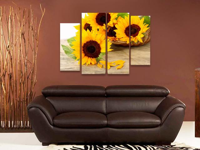 Картина пано от 4 части слънчогледи