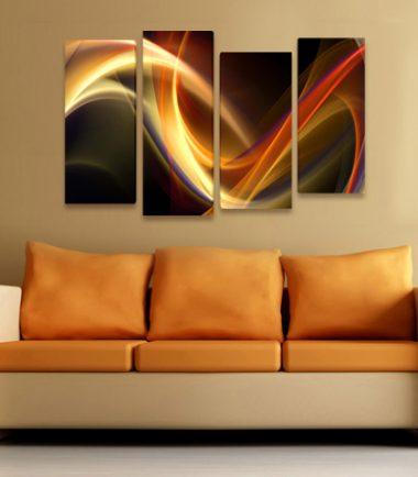 картина пано абстракт вълни 4 части