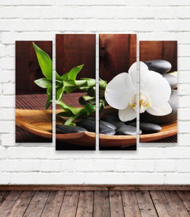 картина пано орхидея бамбук камъни дзен