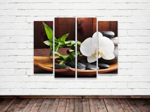 картина орхидея бамбук камъни дзен