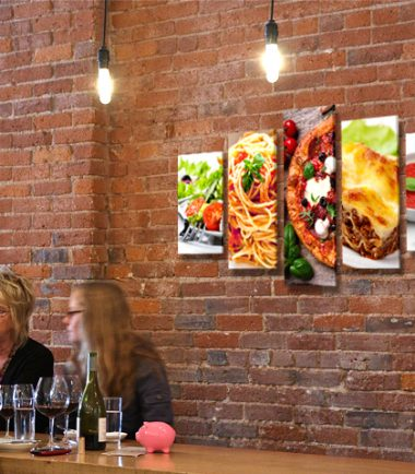 картина ресторант пица спагети салата