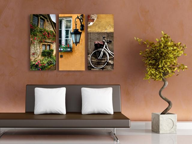 онлайн магазин картини, картина вино сирена 5 части, картина градски мотиви колело прозорец къща