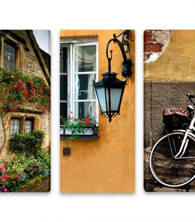 картина градски мотиви колело прозорец къща