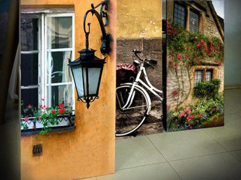онлайн магазин картини, картина вино сирена 5 части, градски пейзажи колело прозорец къща
