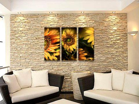 картини слънчогледи тройно пано