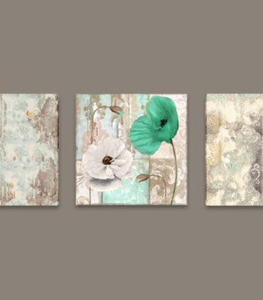 зелен картини макове винтидж 3 части