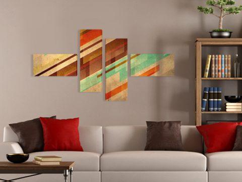 картина абстракт кафяво 4 части