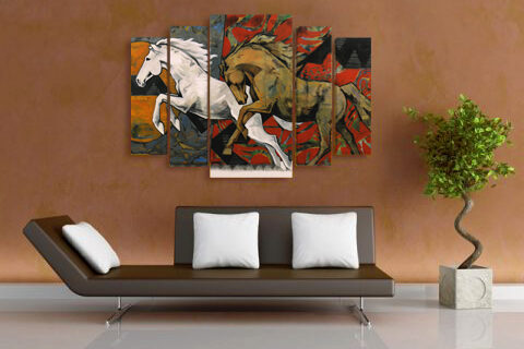 картина пано галопиращи коне