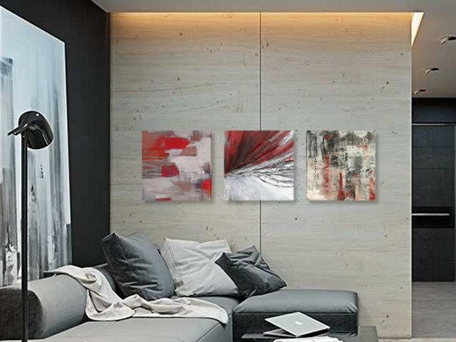 пано триптих абстракция сиво червено