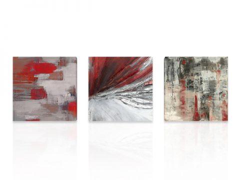 пано триптих абстракт сиво червено