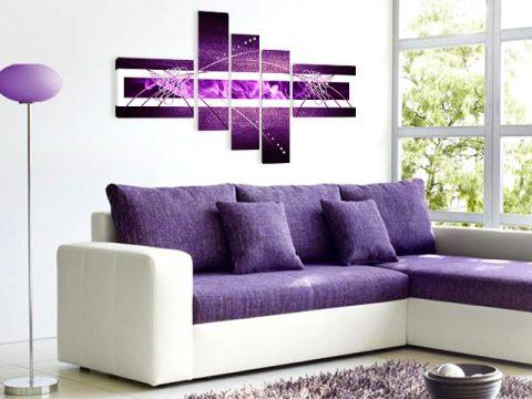 онлайн магазин картини, картина абстракт лилаво 5 части