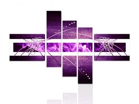 онлайн магазин картини, абстракт лилаво 5 части