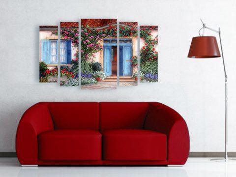 картина къща цветя