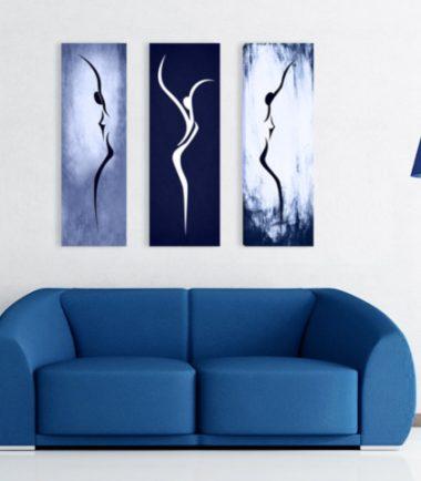 картина арт силуети синьо 3 части