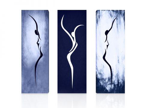 арт силуети синьо 3 части