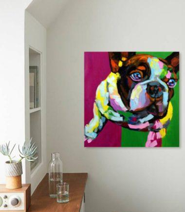картина поп арт френски булдог