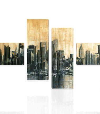 картина пано с абстрактен градски пейзаж от 4 части