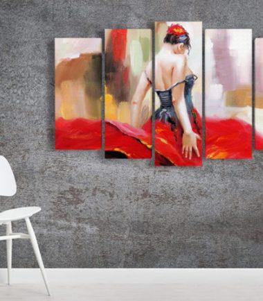 декоративен панел с фламенко жена от 5 части