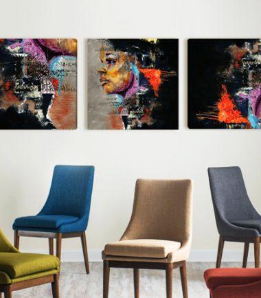 абстрактна декорация за стени с лице на жена