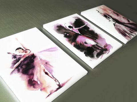 онлайн магазин картини, картина стена с акварелни балерини от 3 части