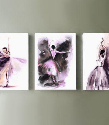 принт за стена с акварелни балерини от 3 части