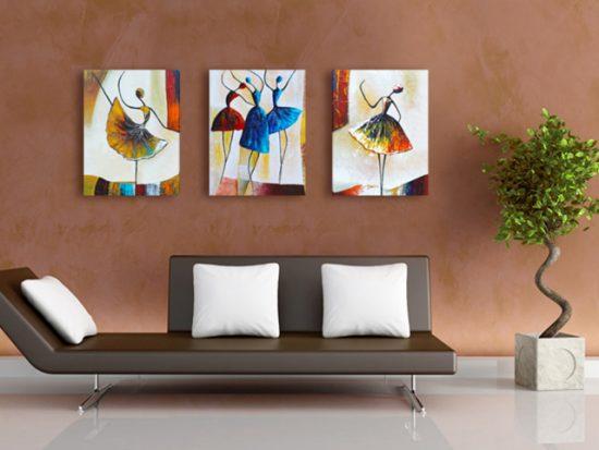 картина 3 части с арт балерини