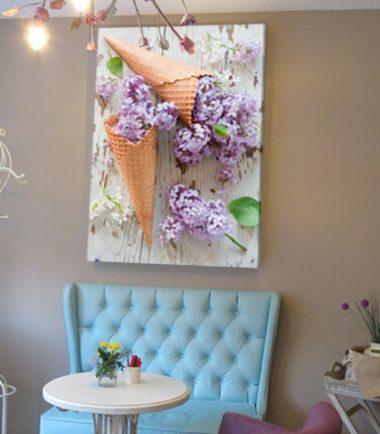 картини сладолед фунийка люляк