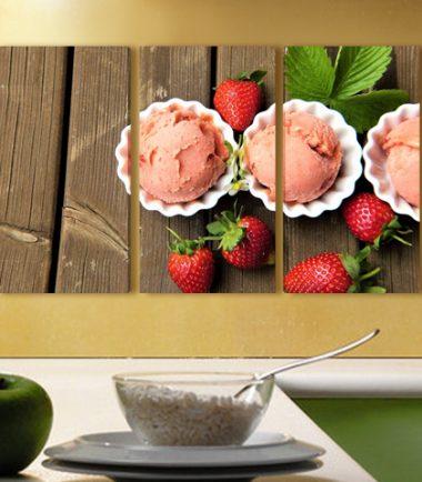 картини за стена, сладолед, кухня, сладкарница, ягоди, 3 части