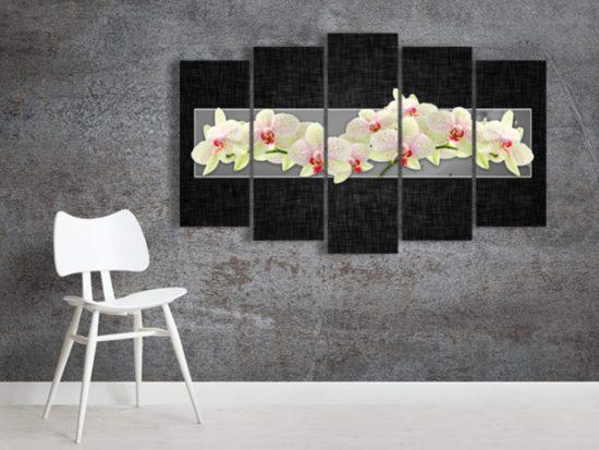 картини орхидеи сиво 5 части канава