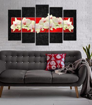 пано орхидеи черно 5 части канава