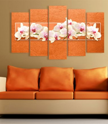 картини орхидеи оранжево 5 части канава
