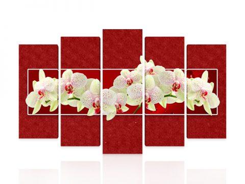 пано орхидеи червено 5 части канава