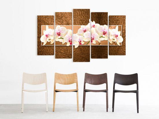 картина пано орхидеи в кафяво 5 части