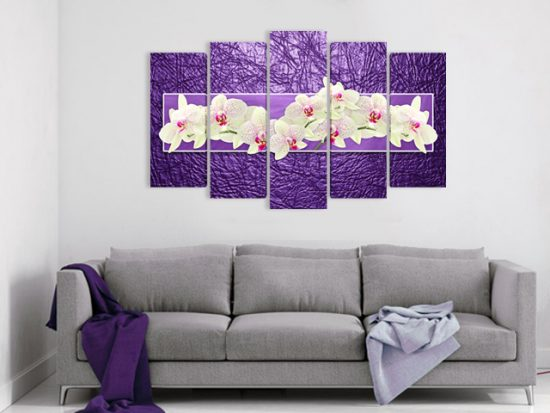 картина орхидеи лилаво 5 части канава