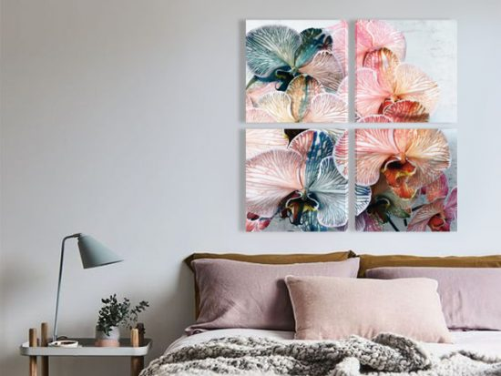 картини орхидея многоцветна от 4 части канава